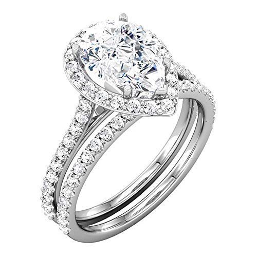 (14K White Gold Plated .925 Silver 3.50 Ct Pear & Round Cut Simulated Diamond Halo Wedding Bridal Ring Set 10)
