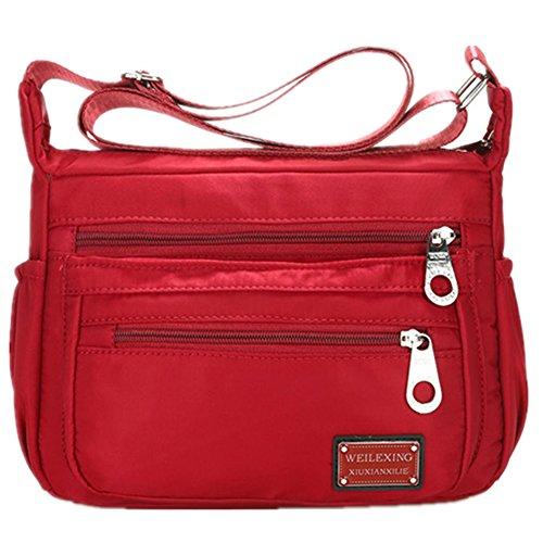 Nylon Crossbody Handbag Women Messenger Bags Shoulder Bag Famous Brands Lightweight Waterproof (2-red)