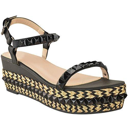 Fashion Thirsty Mujer con tachuelas Cuña Baja Alpargatas Sandalias Forma Plana Zapatos de Tiras Talla Piel Sintética Negro
