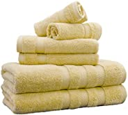 Weavely Towels Butter Yellow Bath Towel Set of 6 Piece, 100% Cotton Zero Twist Soft Luxurious and Highly Absor
