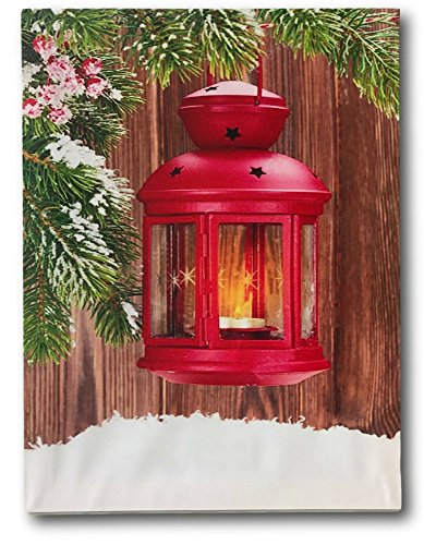 Christmas Picture - Lighted Wall Art with Red Lantern and Greenery - Winter Scene LED Canvas Print