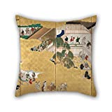 20 X 20 Inches / 50 By 50 Cm Oil Painting Hishikawa Moronobu - Scenes From The Nakamura Kabuki Theater Throw Pillow Covers,both Sides Is Fit For Saloon,home Theater,pub,car,lover,gril Friend