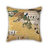 Bestseason 20 X 20 Inches / 50 By 50 Cm Oil Painting Hishikawa Moronobu - Scenes From The Nakamura Kabuki Theater Cushion Covers ,2 Sides Ornament And Gift To Bar,kids Girls,sofa,kids Girls,divan,ca