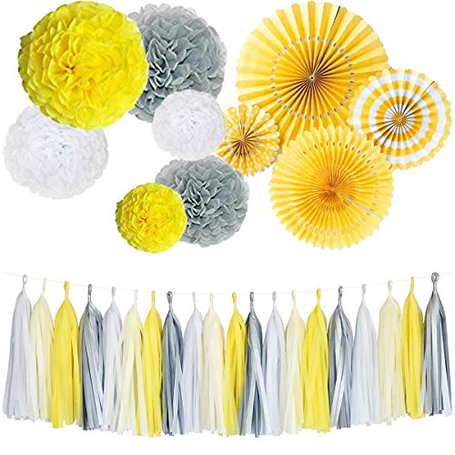 Monkey Home Yellow Tissue Paper Tassel Tissue Paper Pom Poms Flowers Paper Fans Kit for Party Decorations Wedding,Festival,Party Decoration (Yellow) -