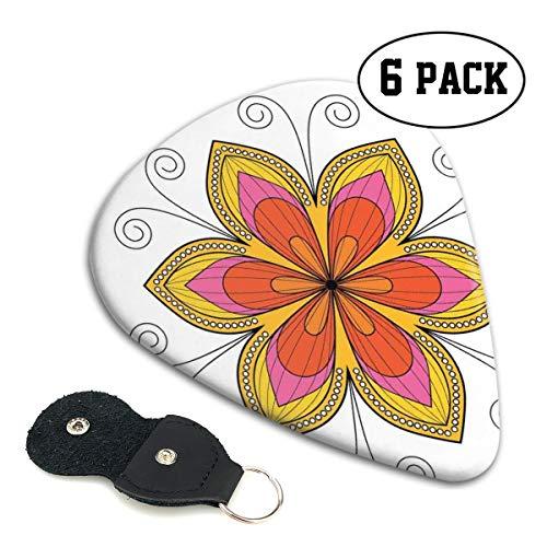 Guitar Picks 6 pcs,Ornamental Blossoming Flower Pattern With Swirls And Dots Circular Petals.96mm