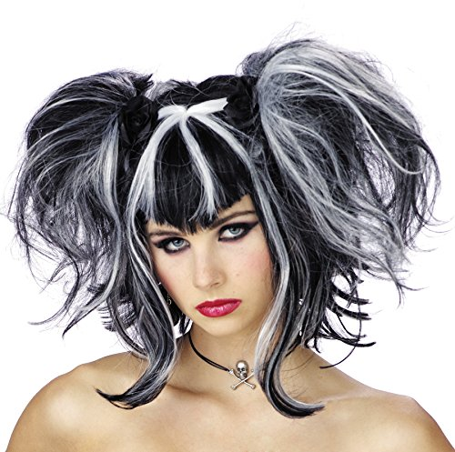UHC Bad Fairy Wig White & Black Devil Halloween Gothic Punk Costume Accessory