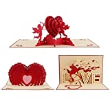 Office Products : DECORA 3 Set 3D Pop up Love Heart Greeting Cards for Wedding Valentine's Day Anniversary
