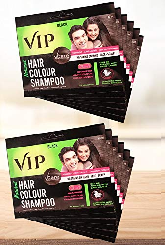 VIP Hair Color Shampoo 480ml (Pack of 12) (Black) | Ammonia Free Instant Hair Colour Can be Applied With Bare Wet hands on Hairs, Mustache, Beard, Chest & hands