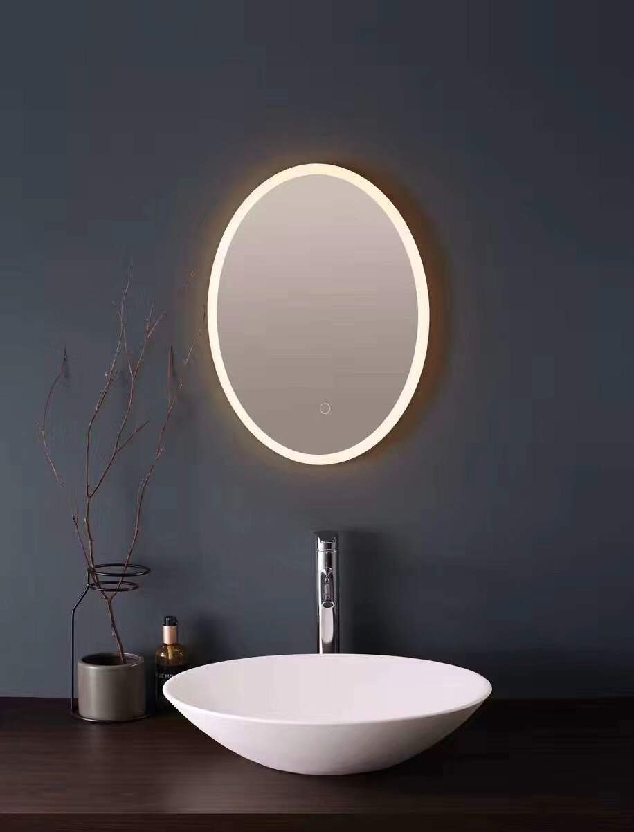LED Backlit Illuminated Mirror 20''x28'' Oval. Wall Mounted for Bathroom, Makeup. Hardwired and Easy to Install. Bright White Light 20w Behind Rectangular Inset Frosted Glass for Flattering Glow by Renewal