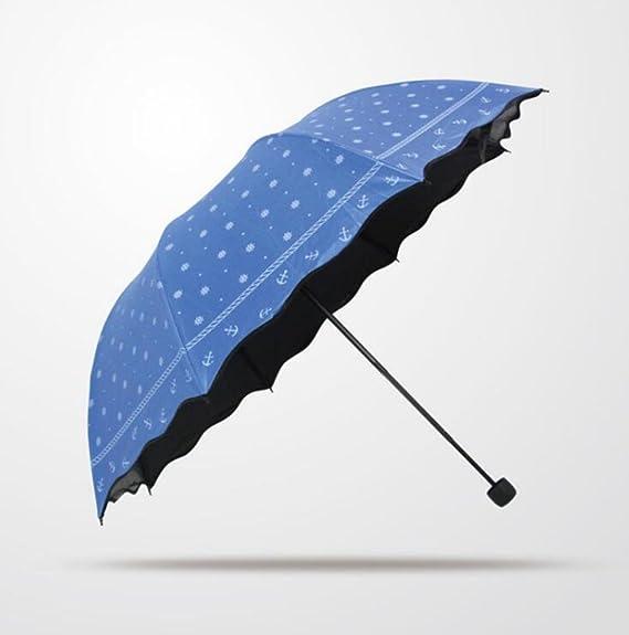 BiuTeFang Paraguas De lunares Vinilo Paraguas paraguas plegable paraguas abovedado protección UV Paraguas manual de Protección Solar 64x90cm: Amazon.es: ...