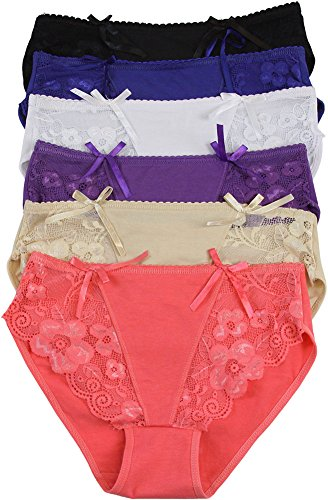 Detail Lace Trim (ToBeInStyle Women's Pack of 6 Floral Lace Trim Briefs with Bow Detail - XL)