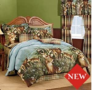 Deer hunting cabin themed full comforter set for Hunting cabin bedroom