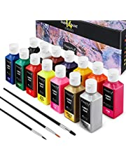 Magicfly Permanent Fabric & Textile Paint, Set of 14 (60 ml) Individual Bottles, Vibrant Colors, Washer & Dryer Safe, for T-Shirts, Jeans, DIY Projects, Paper & Canvas, with 3 Brushes