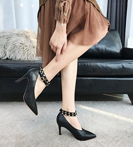 Buckle 38 Match 9Cm Heels All High Fine With MDRW Work Shoes Spring Elegant The Black A Lady Word Rivets Point Leisure YxRFTw