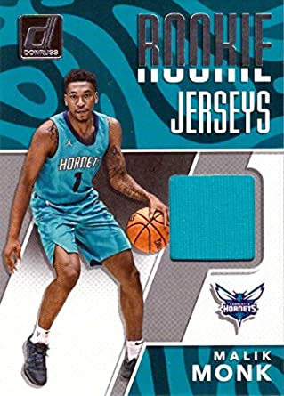 Amazon.com  2017-18 Panini Donruss Rookie Jerseys  RJ-MM1 Malik Monk Player  Worn Charlotte Hornets Jersey Basketball Card  Collectibles   Fine Art 1f90c3efd