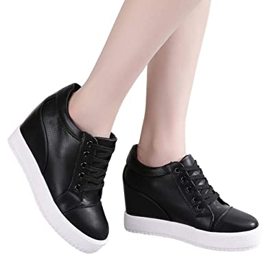 New Fashion Womens Wedge Heel Sneakers PU Leather Trainers Casual Ladies Shoes