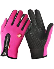 Acelec Waterproof Touch-screen Gloves,with Full-finger Design,for Outdoor Sports Climbing Dress Driving Cycling Motorcycle Camping etc (X-Large, Rose)