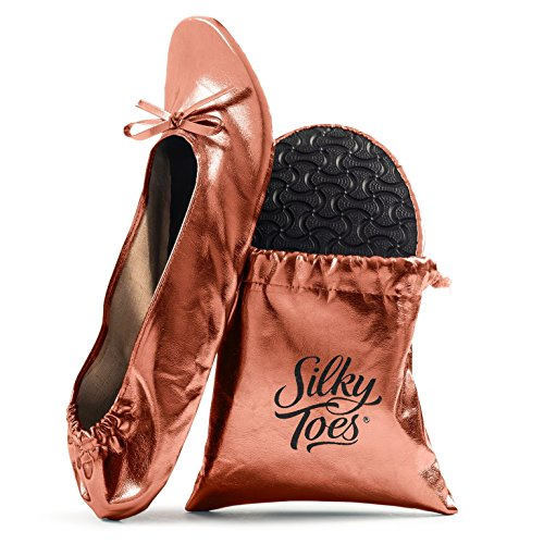 Women's Foldable Portable Travel Ballet Flat Roll Up Slipper Shoes (X-Large, Rose Gold)