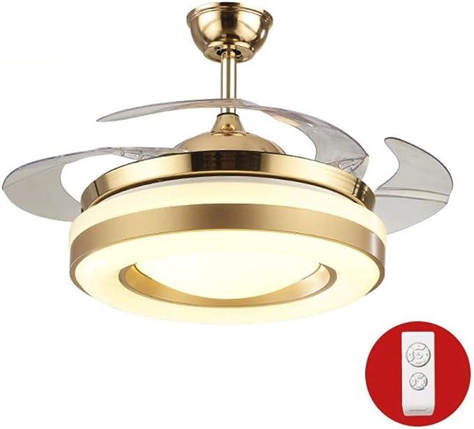 Lámpara colgante de luces de techo lámpara de araña lámpara de ventilador de techo LED para sala de estar aspas retráctiles y lámparas colgantes de tres colores con control remoto (tamaño: Amazon.es: