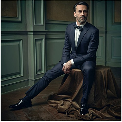 Jon Hamm 8 Inch x10 Inch Photograph Mad Men The Town Minions Million Dollar Arm Seated on Brown Draped Table kn
