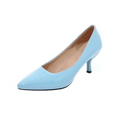 AgooLar Damen Rund Zehe Ziehen auf Rein Low-Heels Pumps Schuhe