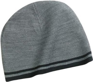 NEW Port and Company - Fine Knit Skull Cap, Athletic Oxford/Black