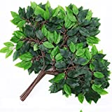 Artificial Shrubs Faux Plastic Banyan Leaves Bushes Fake Simulation Greenery Plants Indoor Outside Home Garden Office Verandah Wedding Decor JH07 (24)