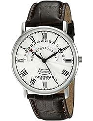 Akribos XXIV Mens AK898SS Round Silver Dial Three Hand Quartz Stainless Steel Strap Watch