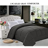 Elegant Comfort Luxury Goose Down Alternative Double-Filled Comforter, Full/Queen, Gray