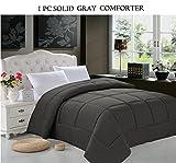 Elegant Comfort Luxury Goose Down Alternative Double-Filled Comforter, King, Gray