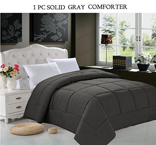 Elegant Comfort Luxurious Goose Down Alternative Double Fill Comforter (Duvet Insert), Twin/Twin X-Large, Gray (Elegant Comfort Goose)