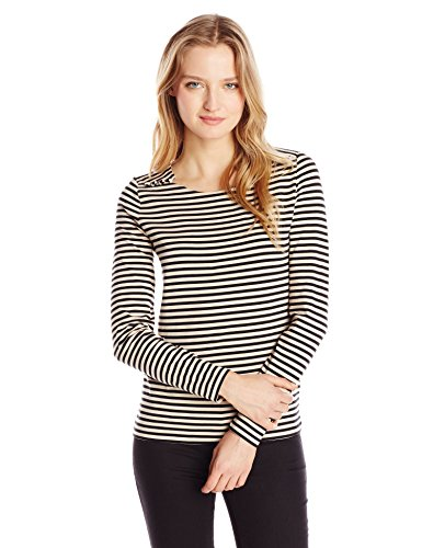 Anne Klein Women's Petite Stripe Top, Black/Blush Multi, Petite/Medium