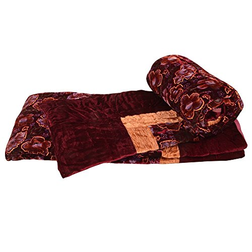 E-Tailor 152 TC Twin Size Golden Crushed Border Single Bed Velvet Quilt Pair Maroon 90x60 - Velvet Jaipuri