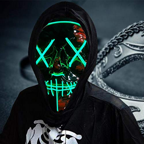 LED Halloween Mask,Scary mask with LED Light,Cosplay Glowing mask for Halloween Festival Party (Green)
