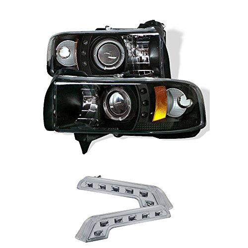 1994-2001 DODGE RAM 1500 CCFL HALO PROJECTOR HEADLIGHTS + 8 LED FOG BUMPER LAMPS