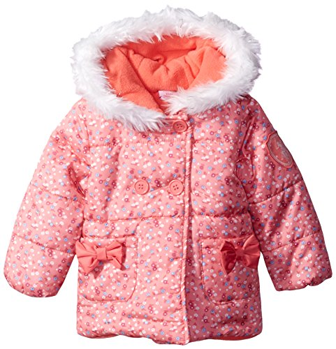 U.S. Polo Assn. Baby Girls' Floral Print Double Breasted Puffer Jacket, Peach Blossom, 12 Months