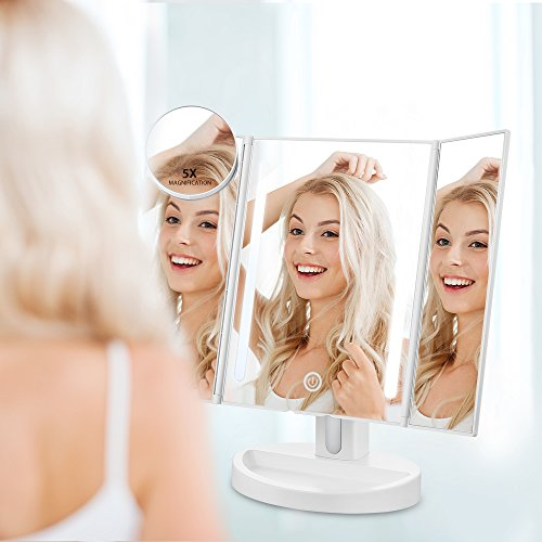 Jerrybox Trifold LED Makeup Mirror with Touch Screen, Natural LED Vanity Mirror, 180° Adjustable, Illuminating Folding Cosmetic Mirror (Free 5X Magnification Mirror) Review