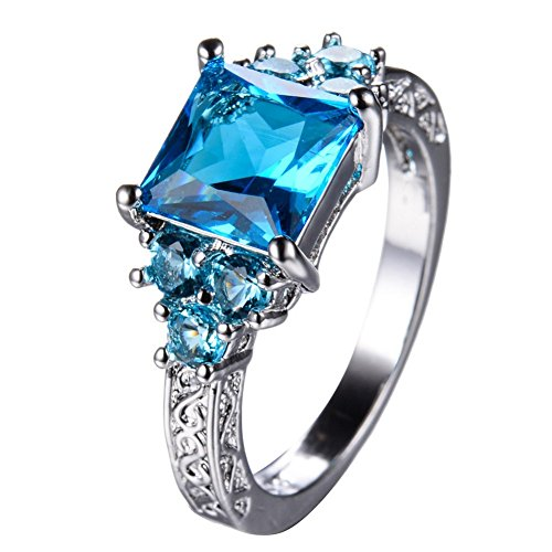 [PSRINGS Unique Design Aquamarine Zircon Ring White Gold Filled Wedding Party Engaget Finger Rings Jewelry] (Ninja Turtle Nose Costume)