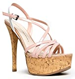 ZooShoo Chinese Laundry Tippy Top Stiletto Sandal - Crisscross Strappy Cork Platform High Heels - Sexy Hot Patent Shoe 9