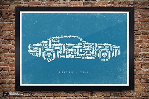 Car Collage of Vintage, Super, Classic and Sports Cars and Parts - Premium Matte Poster - 13