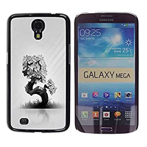 Design for Girls Plastic Cover Case FOR Samsung Galaxy Mega 6.3 Abstract Black White Tree OBBA