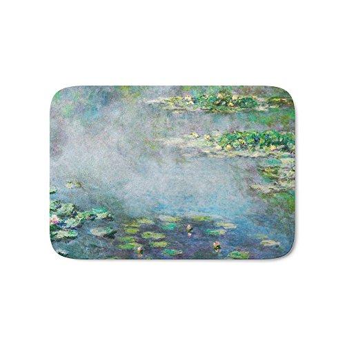 "Society6 1906 Waterlily On Canvas. Claude Monet . Vintage Fine Art. Bath Mat 21"" x 34"""
