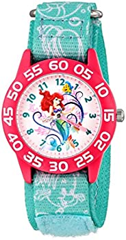 Disney Kid's W001190 Ariel Little Mermaid Time Teacher Watch with Blue Nylon