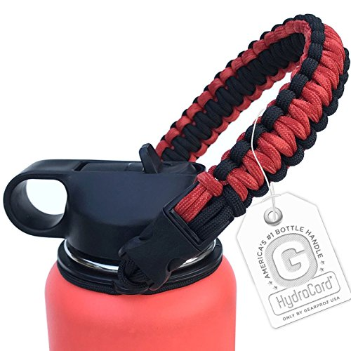 Gearproz Handle for Hydro Flask - America's #1 Paracord Bottle Carrier with Safety Ring Holder - Fits Wide Mouth Water Bottles 12 oz to 64 oz - Top Ratings, 20+ ()