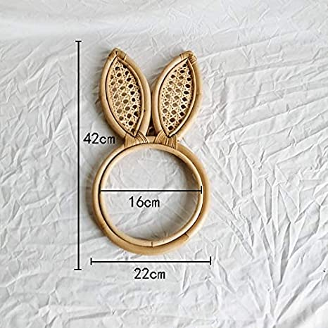 Pour la maison le couloir le bureau le salon D/écoration murale de salle de bain Miroir /à suspendre rond en rotin avec oreilles de lapin