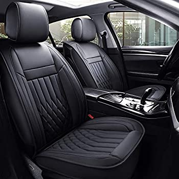 Image of Aierxuan 5 Car Seat Covers Full Set with Waterproof Leather, Universal Fit for Most Sedan SUV (Black, full set) Accessories