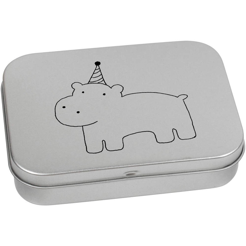 Azeeda 110mm x 80mm Fiesta Hipopótamo Caja de Almacenamiento / Lata de Metal (TT00004347): Amazon.es: Juguetes y juegos