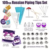 109 Pcs Russian Piping Tips Set - Cake Decorating supplies Gift Box With 109 Baking Supplies Set +22 Icing Nozzles +25 Cupcake Cups +50 Pastry Bags +5 Brushes +3 Couplers +Detailed Brochure & Rose Kit