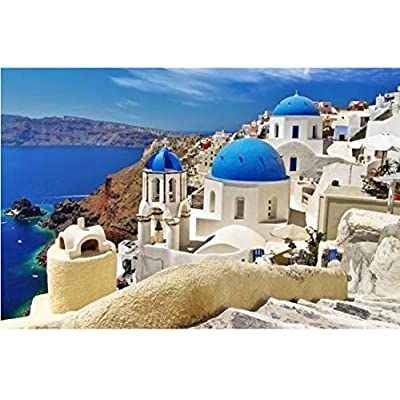 Aegean Sea Puzzle 1000 Piece Jigsaw Puzzle for Kids Adult, Landscape Bay Castle Jigsaw Large Puzzle Game Toys Gift: Toys & Games