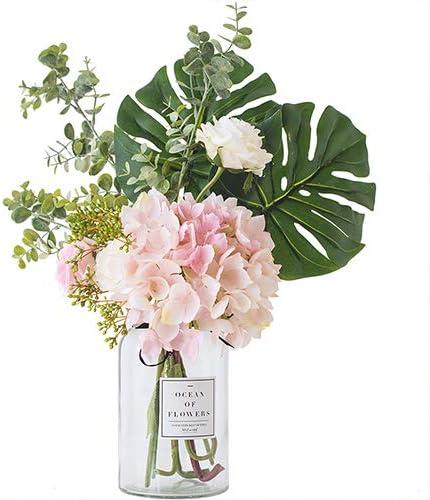 Amazon Com Ins Style Vase With Artificial Flower Set 1 Piece Fake Rose Berry Leaf Floral Flower Arrangement Glass Rose L Pink Furniture Decor